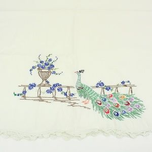Vintage Peacock Embroidered Pillowcase